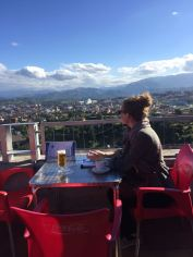 me at El Mirador lookout and restaurant overlooking Oviedo