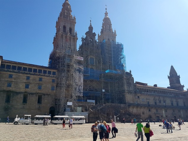 Santiago de Compostela Cathedral with pilgrims in foreground